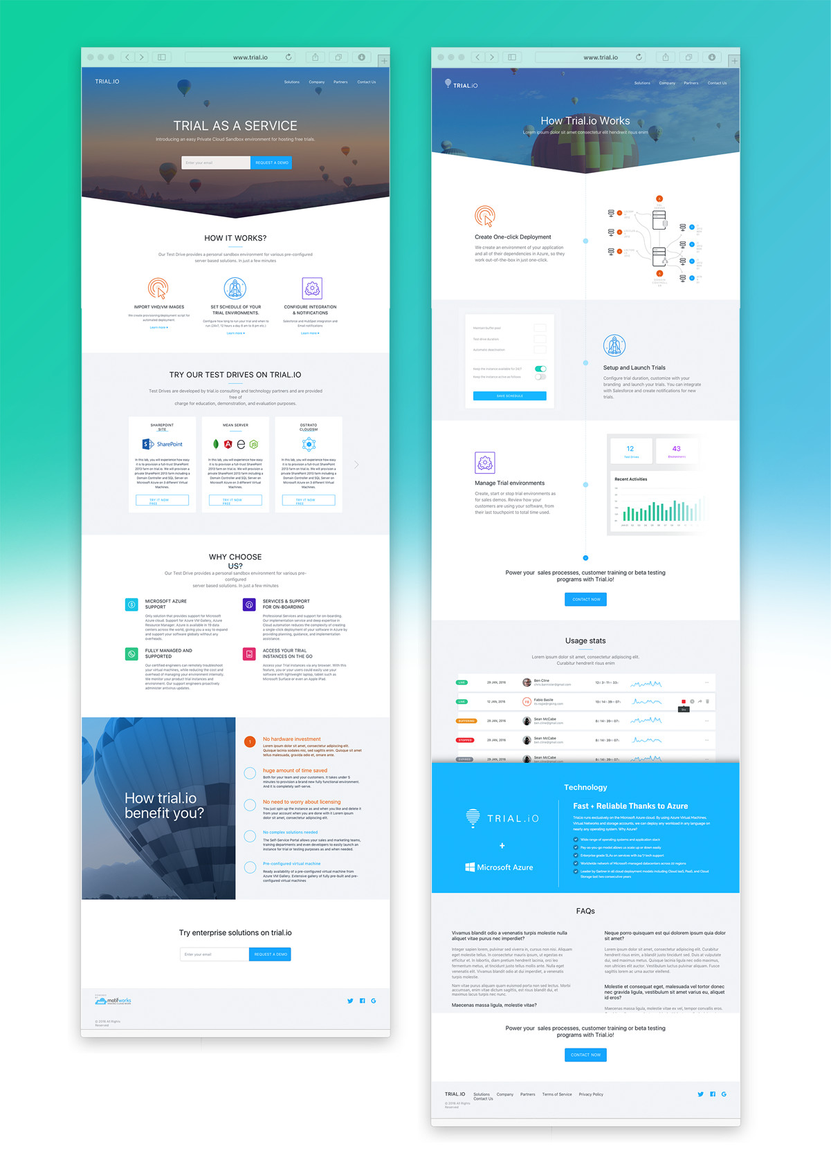 Trial.io Product Website Design