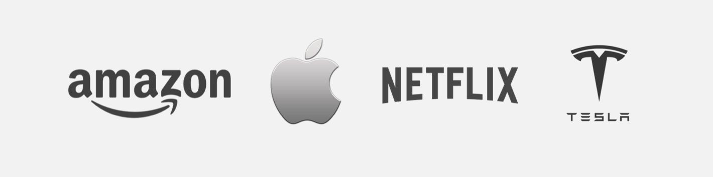 Amazon, Apple, Netflix, Tesla